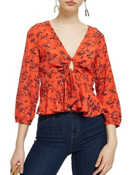 Betty Floral Print Keyhole Blouse by Topshop