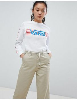 Vans White Finish Line Heritage Long Sleeve T Shirt by Vans