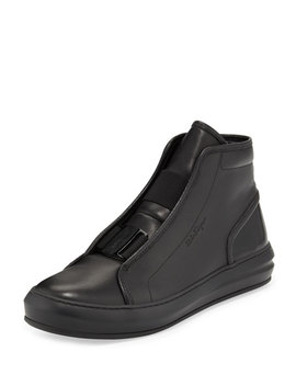 Men's Ground Buckle Front Calfskin High Top Sneaker, Black by Salvatore Ferragamo