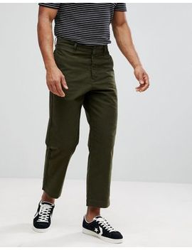 Celio Wide Leg Cropped Pants In Khaki by Celio