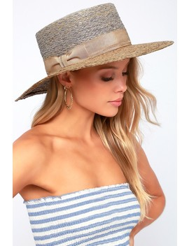 On The Docks Tan Oversized Two Tone Straw Hat by Lulus