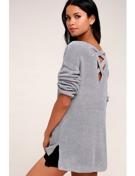 Laken Grey Knit Backless Sweater by Olive + Oak