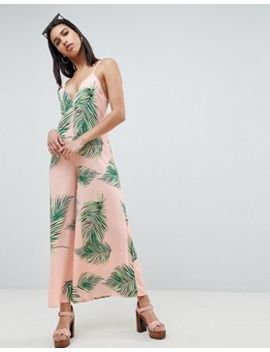 Asos Design Deep V Strap Back Jumpsuit In Tropical Print by Asos Design