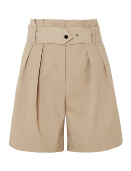 Waoi Belted Pleated Canvas Shorts by By Malene Birger