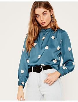 Floral Ruched Neck Blouse by Glassons