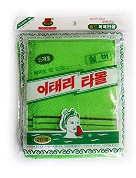 Genuine Korean Exfoliating Scrub Bath Mitten 20pcs  14 Cm X 15 Cm (5.5 Inch X 5.9 Inch) Green by Zombie Workers