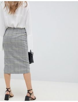 Asos Design Wrap Pencil Skirt In Check With Buttons by Asos Design
