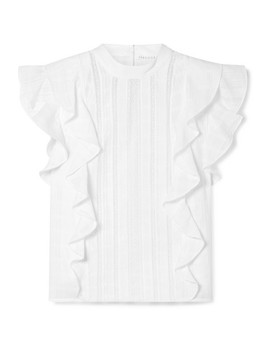 Sol Lace Paneled Ruffled Cotton Jacquard Top by Veronica Beard