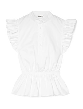 Ruffle Trimmed Cotton Poplin Peplum Top by Adam Lippes