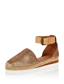 Women's Leather Platform Espadrille Ankle Strap Flats   100 Percents Exclusive  by See By Chloé