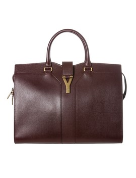 Yves Saint Laurent 'cabas Ch Yc' Burgundy Textured Leather Tote Bag by Yves Saint Laurent