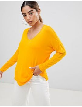 Asos Design Top With Batwing Long Sleeve In Yellow by Asos Collection
