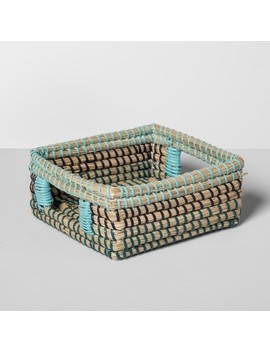 "Seagrass Woven Napkin Holder 7.25"" X 7.25"" Brown/Blue   Opalhouse™ by Opalhouse™"