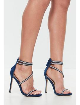 Navy Faux Suede Embellished Barely There Heels by Missguided