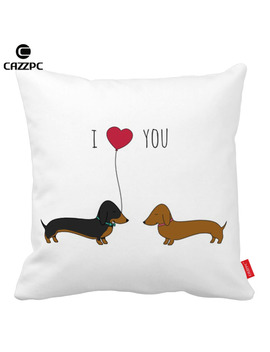 I Love You Cute Dachshund Dog Pet Print Car Decorative Pillowcase Pillow Cases Cushion Covers Sofa Home Decor by Cazzpc