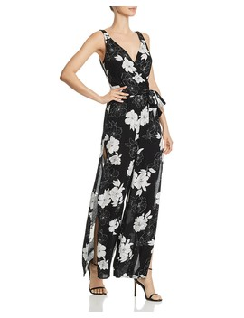 Floral Print Side Slit Jumpsuit   100 Percents Exclusive  by Aqua
