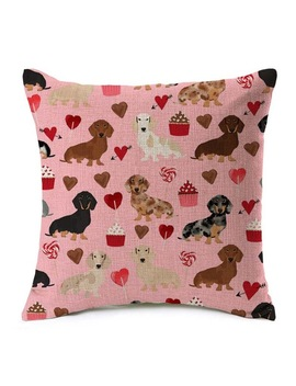 Dachshund Cushion Covers Sausage Dog Cactus Cake Palm Tree Pillow Case Love Heart Pillow Covers 45 X45cm Bedroom Sofa Decoration by Wonderise