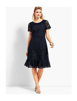 Mixed Lace Fit And Flare Dress by Talbots