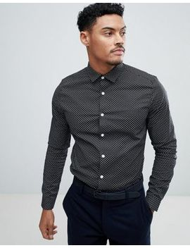 Asos Design Smart Stretch Print Ditsy Print Shirt by Asos