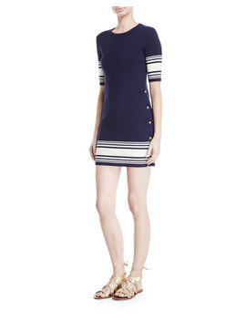 Striped Button Trim Half Sleeve Dress by Ralph Lauren Collection