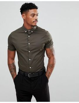 Asos Skinny Shirt In Khaki With Short Sleeves And Button Down Collar by Asos