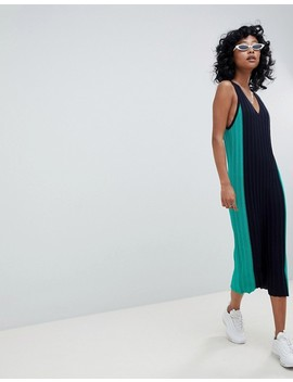 Asos Design Sleeveless Midi Dress In Blocked Knit by Asos Design