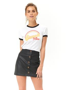 Faux Leather A Line Mini Skirt by Forever 21