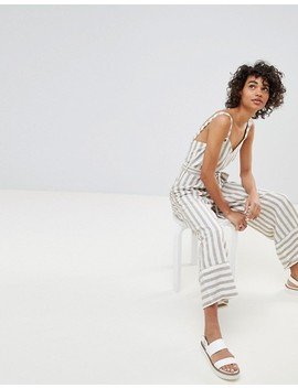 Stradivarius Striped Linen Jumpsuit by Stradivarius