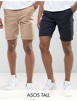 Asos Tall 2 Pack Slim Chino Shorts In Stone & Navy Save by Asos