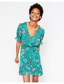 Floral Elastic Waist Ruffle Hem Dress by Express