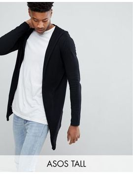 Asos Tall Knitted Hooded Cardigan With Curved Hem In Black by Asos