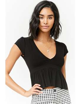 Plunging Peplum Top by Forever 21