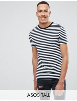 Asos Design Tall Stripe T Shirt In Navy And White by Asos