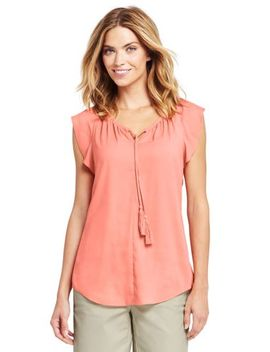 Women's Flutter Sleeve Crepe Blouse by Lands' End
