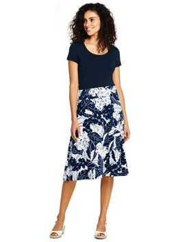 Women's Floral Knit Midi Skirt by Lands' End