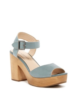 Front Metallic Leather Platform Block Heel Sandal by Kelsi Dagger Brooklyn