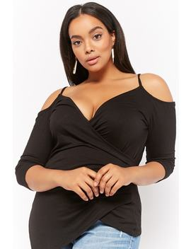 Plus Size Surplice Open Shoulder Top by Forever 21