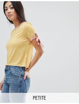 Miss Selfridge Petite Tie Sleeve Contrast Tip Stripe T Shirt by Miss Selfridge Petite