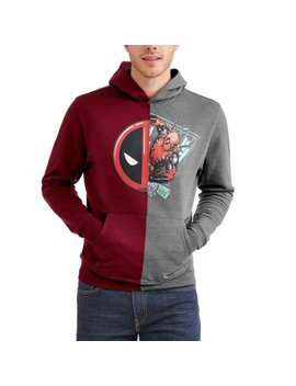 Deadpool Men Long Sleeve Pullover Split Fleece Hoodie by Super Heroes