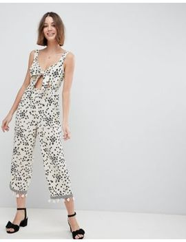 Asos Design Floral Jumpsuit With Cut Out And Tie Detail by Asos Design