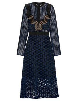 Women's Blue Ruffled Georgette Trimmed Guipure Lace Dress by Self Portrait