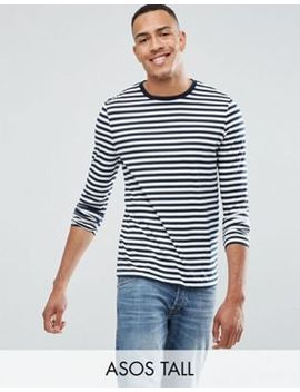 Asos Design Tall Stripe Long Sleeve T Shirt In Navy And White by Asos