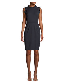 Spring Ruffle Sleeveless Sheath Dress by Rebecca Taylor