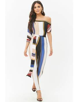 Striped One Shoulder Jumpsuit by Forever 21