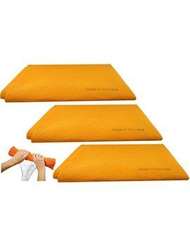3pk Original German Shammy Towels Super Absorbent Chamois Cloths Large Size 20x27 Inch For Home Kitchen Bathroom Car Pet Stains (Orange) by The Original German Shammy