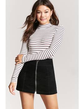 Striped Mock Neck Bodysuit by F21 Contemporary