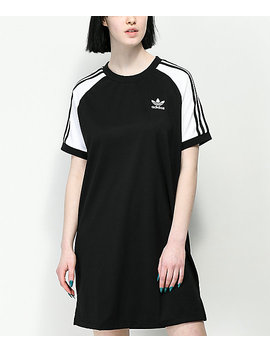 Adidas 3 Stripe Black & White Raglan Dress by Adidas
