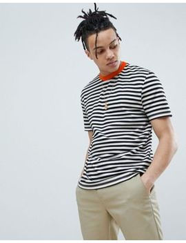 asos-design-relaxed-stripe-t-shirt-in-black-with-orange-contrast-neck by asos-design