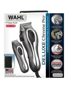 Wahl Deluxe Chrome Pro Complete Men's Haircut Kit With  Finishing Trimmer & Soft Storage Case   79650 1301 by Wahl