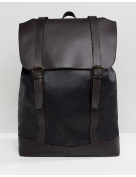 Asos Design Leather Backpack In Black With Double Straps In Brown by Asos Design